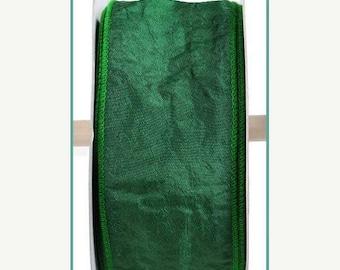 "SALE 2.5""x 25yd crinkle taffeta wired dark green ribbon,  green taffeta, wired ribbon, wired green ribbon, ribbon, dark green ribbon, taffet"
