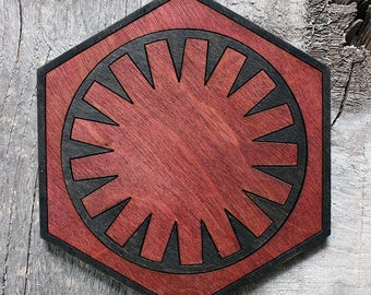 First Order Wood Coaster | Rustic/Vintage | Hand Stained and Glued | Comic Book Gift | Star Wars