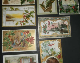 Vintage post cards lot 8 Christmas New Year from the 1910's great graphics embossed