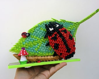 3D Origami and Paper Quilling Ladybug