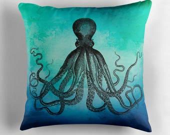 Octopus Pillow, Octopus Decor, Ocean Decor, Underwater Decor, Marine Biology Gifts, Blue Green Pillow, Octopus Cushion, Beach Decor