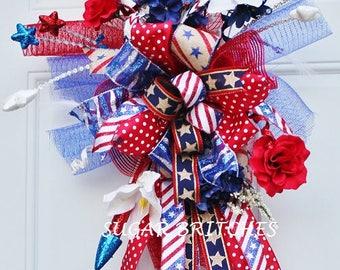 Patriotic Door Hanger, Patriotic Decor, Patriotic Wreath