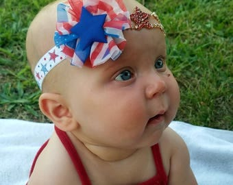 Patriotic Headband, Girl's Headband, Independence Day, 4th of July Headband, July 4th Headband,  Baby July 4th Headband, Baby Girl Headband
