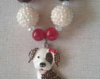 Adorable Puppy Bubble Gum Bead Necklace