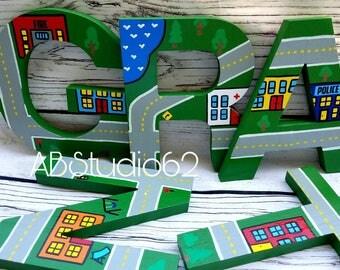 Wooden Letters for Nursery, Car Nursery Decor, Nursery Wall Art, Boys Nursery Decor, Trucks Nursery, Car Decor, Truck Letters, Cars Letters