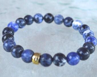 Sodalite Wrist Mala Beads, Sodalite Healing Bracelet, Blue Sodalite Beaded Stretch Bracelet, Sodalite Jewelry, Calming Bracelet,Blue Bracele