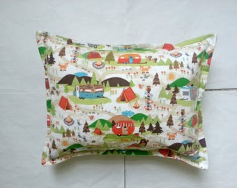 camp ground flannel toddler pillow case kid pillow case child pillow case travel