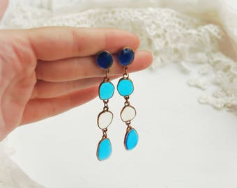 Blue earrings, Long earrings, Stud earrings, Blue studs, Wedding earrings, Christmas earrings, Winter earrings, Ice earrings, Snow earrings