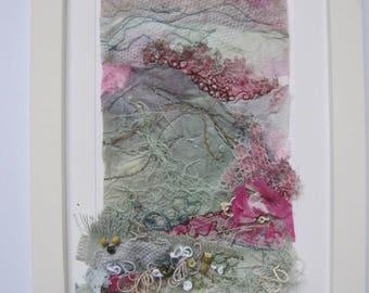 FRAMED EMBROIDERED LANDSCAPE - textile art, embroidery, embroidered art, embroidery, fibre art, landscape, textiles.