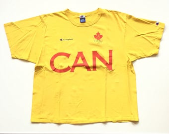 Vintage Champion t shirt champion jersey team canada olympic t shirt 90s champion canada can XXL 100% Cotton Yellow