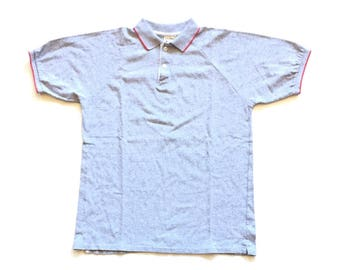 90s LL Bean champion plain blank 100% cotton short sleeve T shirt mens Medium M Collared button front polo shirt gray red striped USA