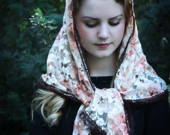 Evintage Veils~Ivory & Autumn Peach Floral Lace VIntage-Style Trim Wrap Mantilla Floral Vintage Inspired Lace Chapel Veil Scarf Mantilla-