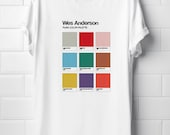 Wes Anderson Camiseta Unisex T-Shirt Films Color Palette Graphic Design Isle of Dogs Tenembaums Moonrise Kingdom Mr Fox Tee t-shirt Unisex