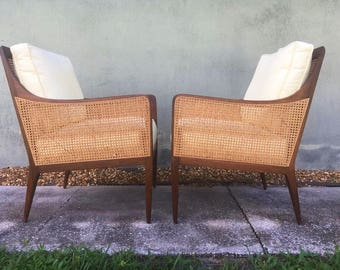 Mid Century Modern cane and walnut lounge chairs by Milo Baughman for Directional's Country Villa Collection