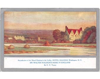 Raleigh Hotel, Washington DC vintage postcard | Sir Walter Raleigh home, England, C Y Turner painting | 1920s District of Columbia postcard