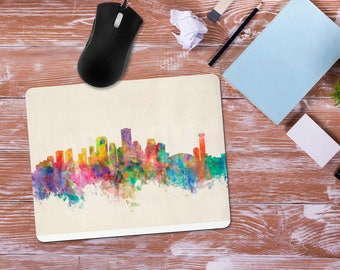 New Orleans NOLA Watercolor Mouse Pad, Mardi Gras City Scape Skyline, Office Desk Accessories, Personalized Mouse Pad, Office Supplies