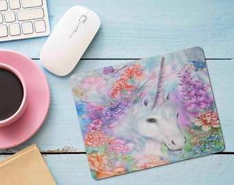 Floral Watercolor Unicorn Mouse Pad, Unicorn and Flowers  Mousepad, Unicorn Office Desk Accessories, Personalized Mouse Pad, Office Supplies