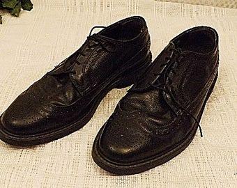 80s Vintage Black Full Brogue Classic LWB Wingtip Shoes Size 11