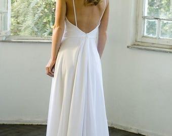 SALE Romantic White Chiffon Beach Wedding Dress, Low Back Wedding Dress White Wedding Dresses, Chapel Train Bridal Gown Custom Size 4-6-8-10