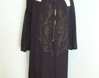 ON SALE Edwardian Wool Desss with Soutache and Lace Trim