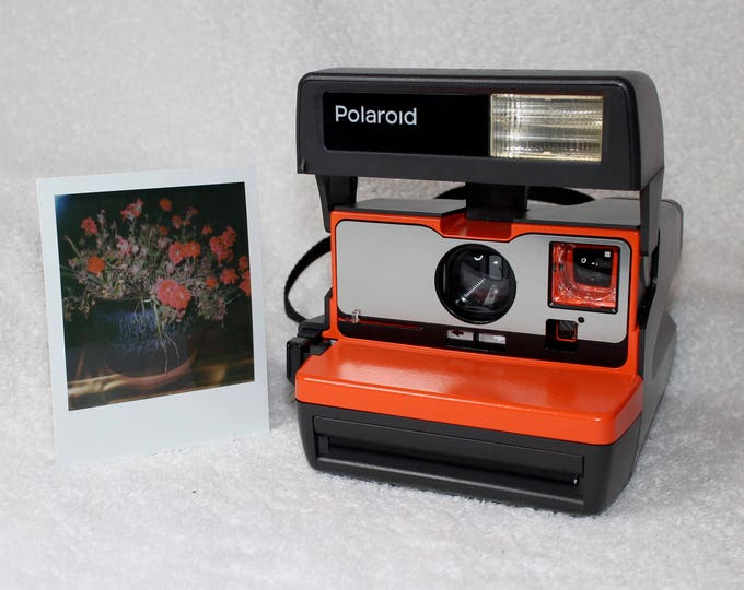 Bright Orange and Brushed Silver Front Upcycled Polaroid 600 OneStep With Close Up And Flash Built-In
