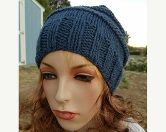 15% OFF SALE Handknitted slouchy hat, Ready to ship, Knitted hat, Knitted beanie, winter hat, Dark Denim hat, knitted women's hat