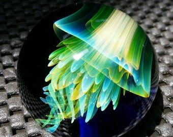 UV Reactive jellyfish Marble by ~Ethan Lesch~  Borosilicate, Boro, Art glass, MIB