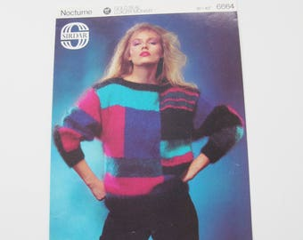 Vintage knitting pattern. Sirdar Nocturne. Fabulous eighties colour block mohair Lady's jumper sweater. Batwing sleeves.