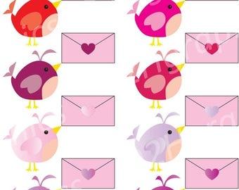 15% Sale Valentines Clipart, Cute Bird Clip Art, Vector Clipart, Digital Scrapbooking, Graphic Artwork, PNG & JPEG, Digital Clipart, Commerc