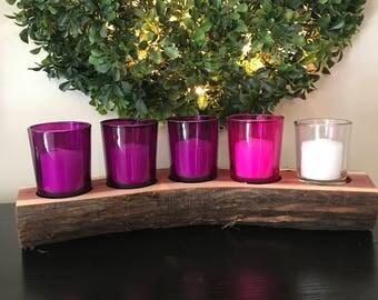 5 Hole Cedar Log Advent Wreath and Candle Holder