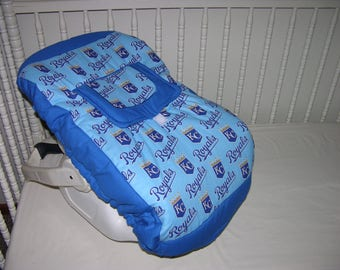Custom Made New Infant Seat Carrier Cover m/w Kansas City Royals Fabric