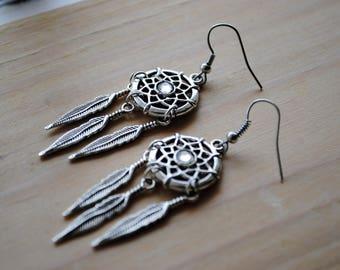 Silver Dreamcatcher Earrings/ Boho Fashion Accessory
