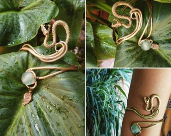 Serpent Rising Golden Dreams/ Elven armlet / Wire work with Sea Glass.