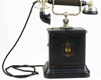 Antique Danish black Jydsk metal case desk telephone 1920s