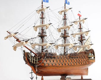 Large handmade wood replica of the Royal Louis French Navy 1779