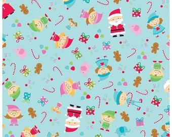 Christmas Fabric Santa's Work Shop by Riley Blake Holiday Fabric by the Yard or Half Yard Christmas Material Blue