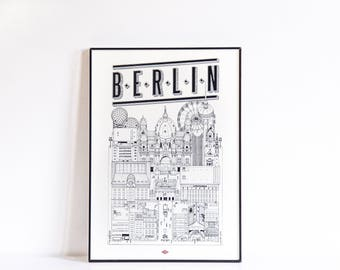 "Berlin - series illustration ""Travel With Me"". Black and white. 21 x 29.7 cm"