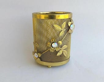 ON SALE Ornate Vintage Gold Metal Makeup Brush Holder AB Crystals Brush  Holder Vanity Accessory Hollywood