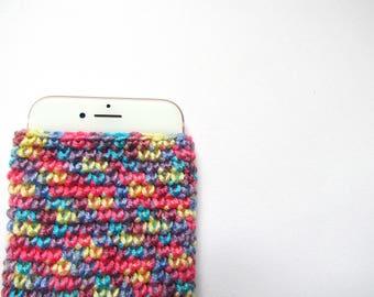Rainbow Phone Sleeve - Crochet iPhone Cover - Colourful Phone Covers - Unique Phone Cover - Simple Phone Sleeves - iPhone 7 Covers
