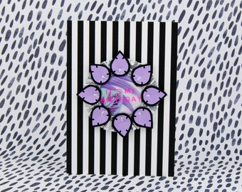 PURPLE BIRTHDAY BADGE on a stripey A5 card. Lilac, handmade rosette printed with 'It's my Birthday'. card with badge. Kids Birthday card.