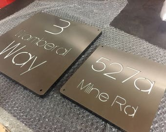 "Stainless Steel LED Illuminated House Sign Plaque - Made to Order, Laser Cut - 12"" x 12"""