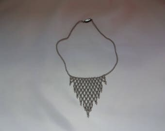 Pearl grey net seed bead necklace