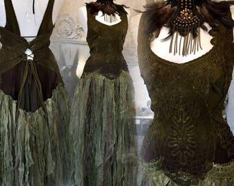 Apocalyptic wedding dress dark green tones, Alternative wedding dress made in Denmark, boho wedding dress ,unique wedding dress,upcycled,eco