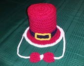 Red Top Crochet Hat and Bow Tie Set, Baby First Christmas Gift, Infant Cylinder Shape Stovepipe Cap, ages 3 6 12 months Newborn Santa Claus