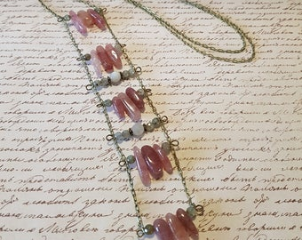 Statement Cherry Quartz and Labradorite Necklace