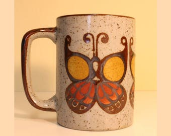 Butterfly Mug Coffee Cup Stoneware Likely from Japan