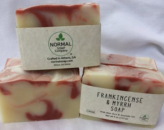 Frankincense and Myrrh Handmade Soap with Avocado Oil and Madder Root
