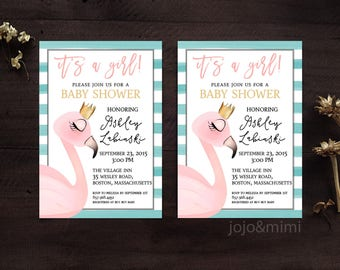 Flamingo BRIDAL SHOWER Printable Bridal Shower Invitation 5x7 Personalized Flamingo and Crown It's A Girl Theme Invite and Announcement