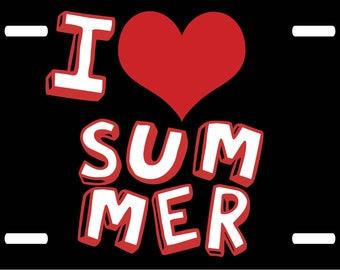 I Love Summer Novelty Car License Plate Tag