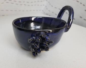 Geode Crystal Small Bowl with Handle Black Blue Gem Handmade Pottery